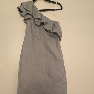 NWT BR One-Shoulder Body Con Dress - Seersucker
